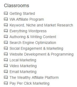 Wealthy Affiliate's 13 Classrooms