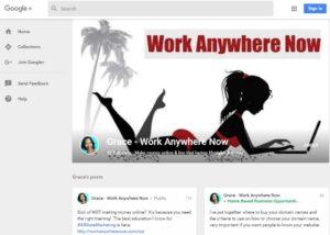 Work Anywhere Now's GooglePlus Account