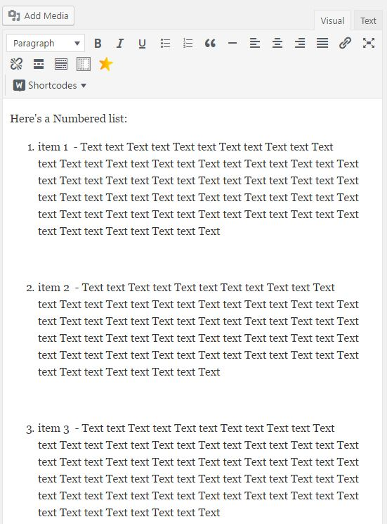 WordPress Adding Space Between Numbered Lists - Editor View