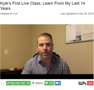Kyle's Live Video Training at Wealthy Affiliate
