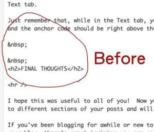 Adding Anchor Code in Text Tab - Before
