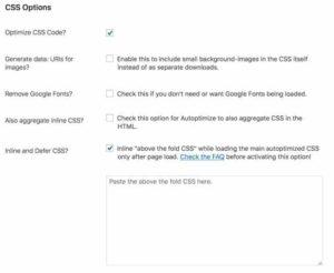 Autoptimize Plugin CSS Advanced Settings