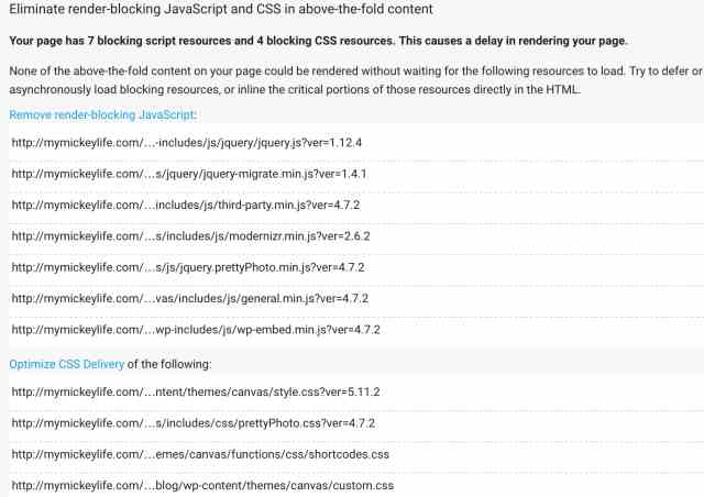 Detailed Errors of Render Blocking Javascripts and CSS Above-the-fold Content