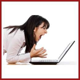 Woman Frustrated at Laptop Feature