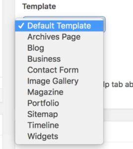 Wordpress Page Templation Options