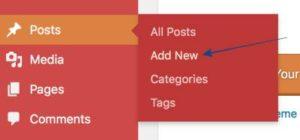 Add New Post on WordPress menu