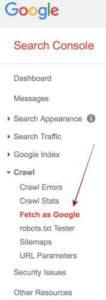 Search Console Fetch As Google Menu