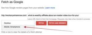 Search Console Fetch as Mobile Smartphones