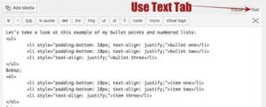 WordPress Coding for adding a space between bullet points & numbered lists