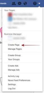 Facebook Create Page Menu