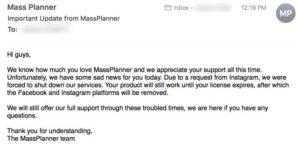 Mass Planner Shut Down official email