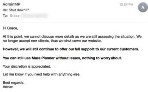 Mass Planner email says still works