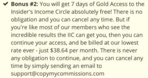 Copy My Commissions Bonus Insider's Income Circle