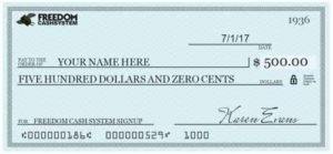 Freedom Cash System $500 fake
