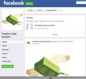 Freedom Cash System FB page