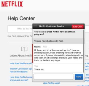 Freedom Cash System Netflix does not have an affiliate program