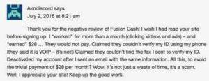 Fusion Cash Requirements