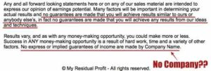 My Residual Profit No Guarantees 2
