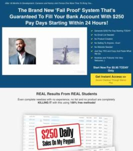 $250 Online Every Day Sales Page