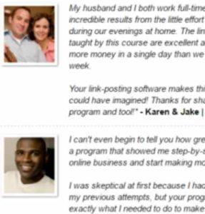 Home Earning System fake testimonies