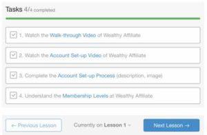 Wealthy Affiliate Tips - Tasks