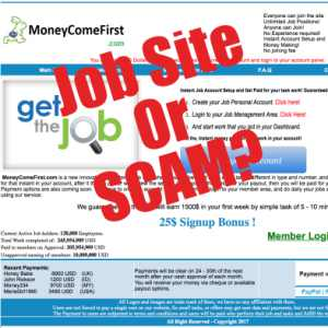 A Job Site Or Is Money Come First a scam