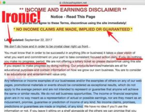 Click Cash System Earnings Disclaimer
