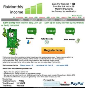 Fix Monthly Income Home page