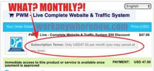 GIM System 3000 email subscribers for $47 is really a monthly charge