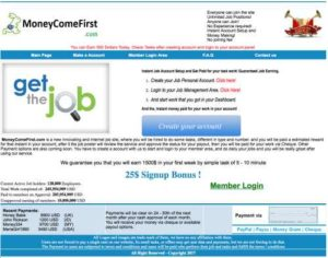 Money Come First Home Page