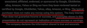 The Auto Money System Disclaimer