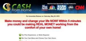 Cash From Home home page