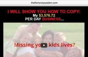 The Facebook Money System home page sales video
