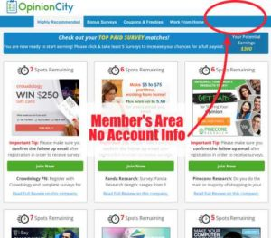 Opinion City Home Page with No Account Info