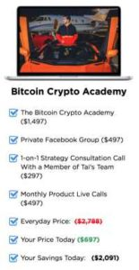 Tai Lopez Bitcoin Crypto Academy Package Includes