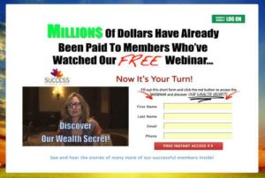 Our Wealth Secret home page sales video