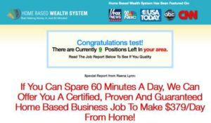 Home Based Wealth System Sales Page