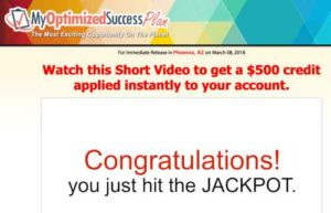 My Optimized Success Plan Sales video home page