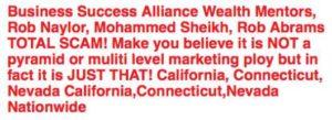 Millionaire Mentors Alliance complaints
