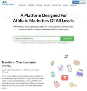 Wealthy Affiliate's home page