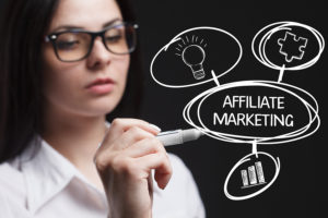 Lady writing affiliate marketing with circles
