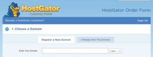 HostGator sign up form step 1