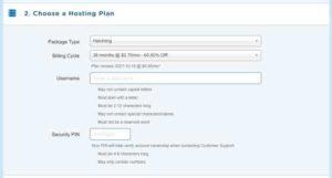HostGator sign up form choose hosting plan