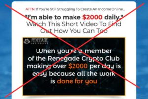 Renegade Crypto Club sales video crossed out