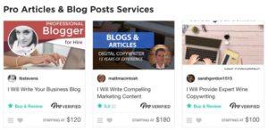 Fiverr Pro blogging services
