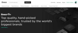 Fiverr Pro home page
