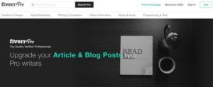 Fiverr Pro home page for article writing