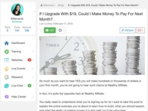 If I pay $19 Could I make money to pay for next month post on Wealthy Affiliate