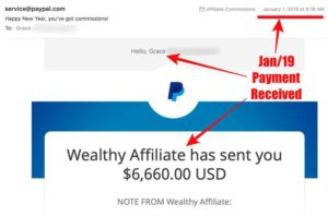 Wealthy Affiliate Jan 2019 payment income proof