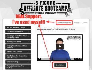 6 Figure Affiliate Bootcamp Members Area has great support